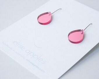 Rain drop small dangle / drop earrings   Pink mirror   Laser cut acrylic   Handmade