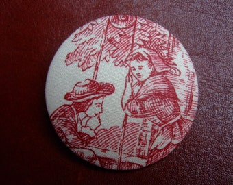 Antique French toile de Jouy button * 5 cm * red and white country couple