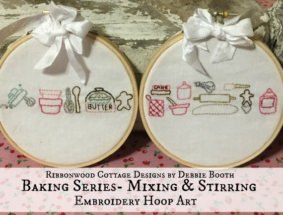 "Embroidery Pattern - Baking Series Mixing and Stirring  4"" Hoop Art Immediate download"