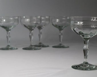 Champagne Coupes Champagne Saucers Stemmed Sherbet Glasses, Optic Bowl Coupe, Antique Stemware, Needle etched Coupe Cocktail Martini Glasses