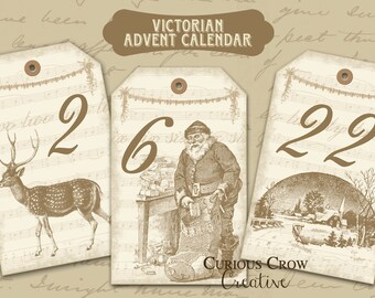 Victorian Cream Advent Calendar Digital Collage Sheets INSTANT Printable Download 2 Sheets of Hang Tags