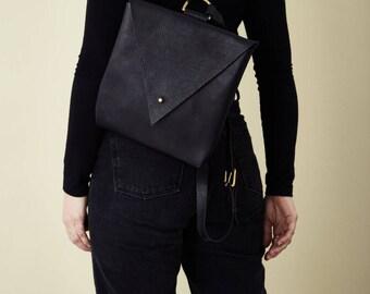 Black Leather Backpack - Drifter