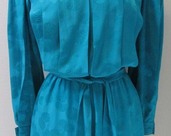 Elegant Turquoise 100% Pure Silk 1980's Dress with Pleated Bodice & Sleeves by Argenti Size 6