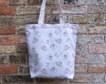 Luxury Tote Bag - Sketched Guinea Pig Design