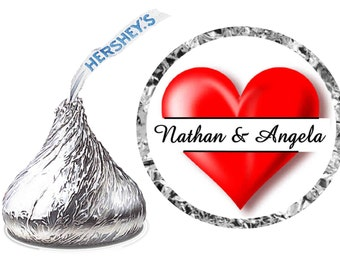 216 ~ Wedding Favors Heart Hershey Kiss Kisses stickers Labels ~ FREE SHIPPING