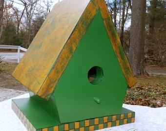 "Hand Crafted Birdhouse Fern Green & Mustard Yellow Checkerboard-Indoor/Outdoor Pine Bird House 9""x6.5""x7.25"""