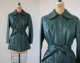 vintage 1970s leather jacket / 70s green belted leather jacket / 70s the tannery jacket / 70s forest green coat / medium large