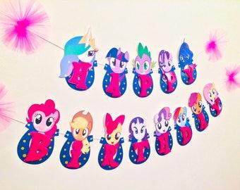 My Little Pony Decorations, My Little Pony Party, My Little Pony Banner, My Little Pony Birthday, Twilight, Pinky Pie, Rainbow Dash, GLITTER