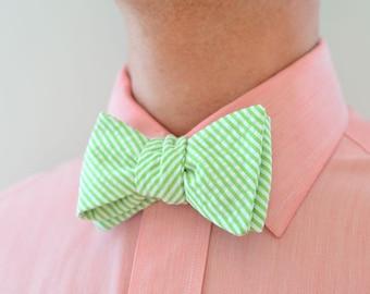 Men's Bow Tie in Lime Green Seersucker- mens green freestyle wedding groomsmen bowtie neck self tie striped