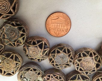 African Brass Trade Beads - Pair
