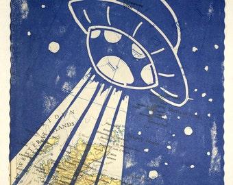 Linocut Flying Saucer nursery decor - UFO Space on world map