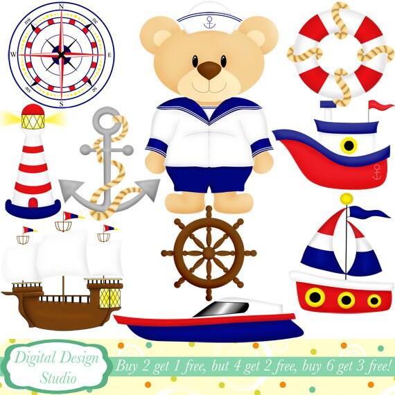 sailor ted clip art set 10 designs instant download for rh etsy com sailor clipart free sailor moon clipart
