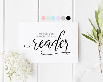 Thank You For Being Our Reader Card, Wedding Reader Thank You Card, Reader Wedding Card, Thank You For Reading Card, Wedding Card For Friend