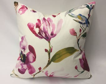 Watercolor Flowers & Bird in Shades of Magenta, Pink, Green, Gold Decorative Pillow Cover