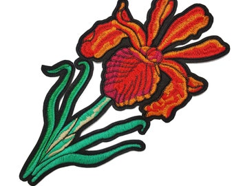 Iron On Rose Flower Embroidered Patch Applique, Iron On Red Flower Image Transfer