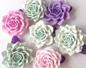 Hair clip polymer clay flower. Mint  rose.