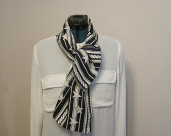 Silk scarf, navy blue and white,