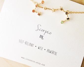 Scorpio Necklace, Scorpio constellation necklace, zodiac necklace, constellation necklace, star sign necklace, november birthday gift, 14k