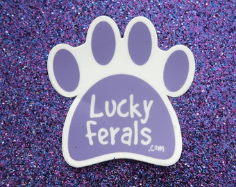 Purple Cat Paw Sticker - Lucky Ferals