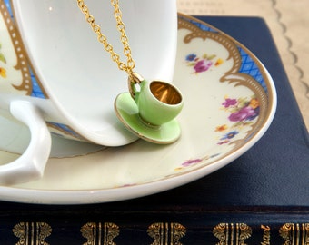Green Teacup Necklace - Tea Party Favor - Teacup Jewellery