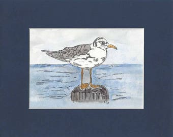 Original Pen Ink and Watercolor Painting of A Seagull on a Post in Water - With 8 x 10 inch Mat in Dark Navy Blue