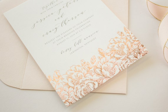 Gold Foil Stamped Wedding Invitations: Foil Stamped Wedding Invitations Romantic Invitations With