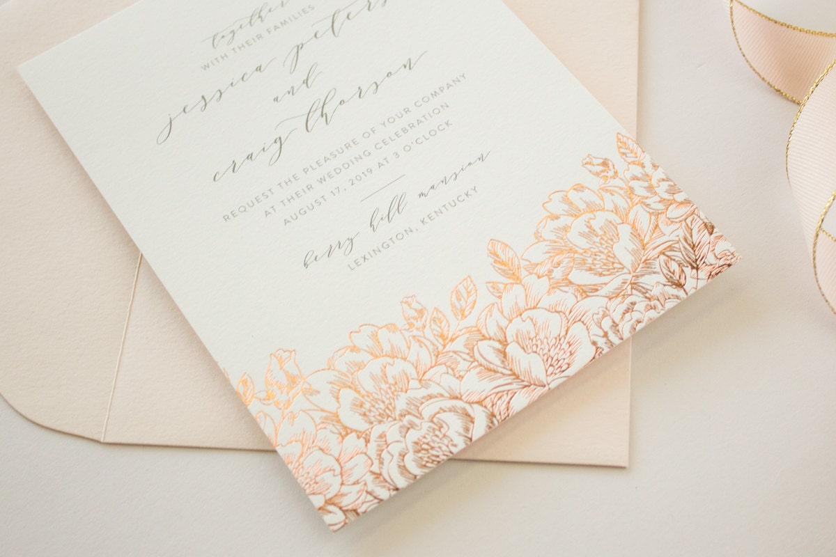 Wedding Invitations Rose: Foil Stamped Wedding Invitations Romantic Invitations With