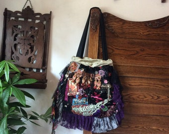Velvet Gypsy Bag, handmade layered ruffled laces, purple burgundy, fringed tassel lace beads buttons embellished