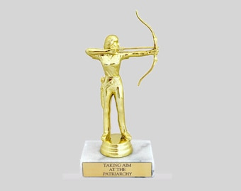 Taking Aim At The Patriarchy Trophy With Real Italian Marble Gold Feminist Feminism Liberal Archery Smash