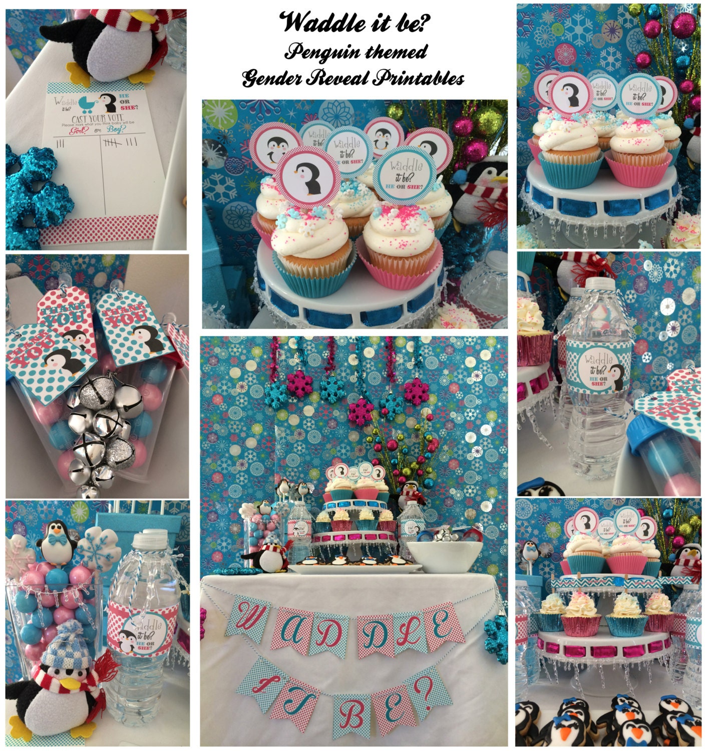 Waddle it be Penguin Gender Reveal for Winter Baby PARTY