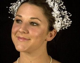Vintage Pearl and Beaded Bridal Floral Headpiece, Crown, Tiara,With Silk Flowers, Pearls on Nylon Line, Pearled Leaves, Wedding Crown