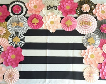Pink Black Gold Backdrop, Paper Fans and Paper Flower Backdrop, Baby Shower Backdrop, Baby Shower Decor, Sweet 16 decor, Paper Flowers