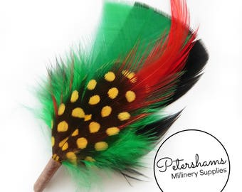 Men's Green & Black Hat Feathers Millinery Mount (Turkey, Hackle and Spotted Guinea Feathers)