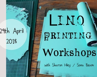 Lino printing workshop, art class, calderdale art workshop, sowerby bridge lino printing, sona beam studio workshops,block printing class