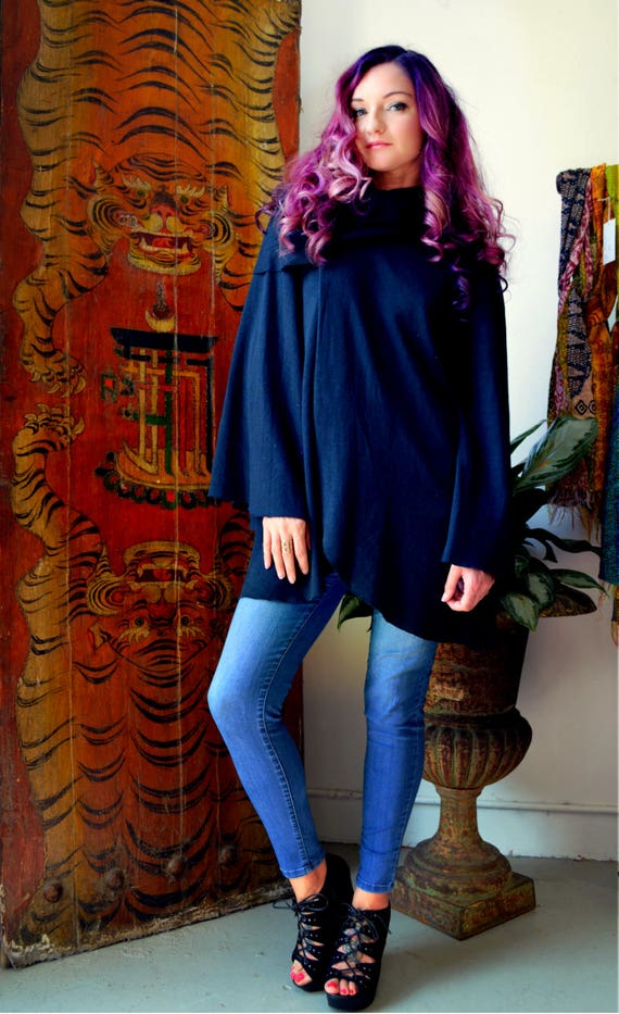 Black long sleeve tulip top with cowl and wide sleeves, Light organic Hemp/cotton jersey knit. SPRING SALE 50% OFF. Ready to ship.
