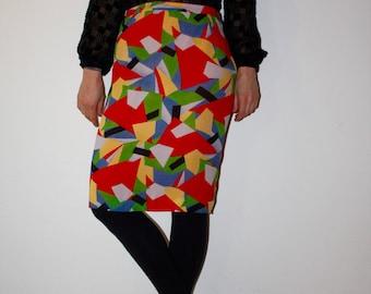 High waist Vintage skirt with abstract print