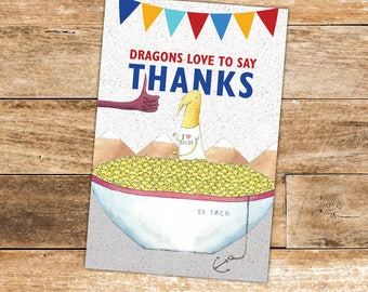 Dragons Love Tacos Thank You Card, Dragons Love Tacos Birthday - digital file