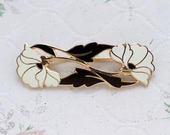 Art Nouveau Lapel Pin - Black and White Enamel Flowers Brooch - Vintage Elegant Jewelry