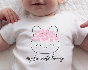 Easter Bunny Gift Baby Girl Onesie with My Favorite Bunny Print Handmade