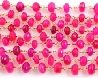 Fuschia Chalcedony Chain, 5-7mm Stones w/ Gold Wire chain, Priced & Sold by the Foot.(GMB/CHAL/FSCA)