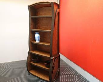 Art Nouveau wooden bookcase, 1/12 miniature for dollhouses