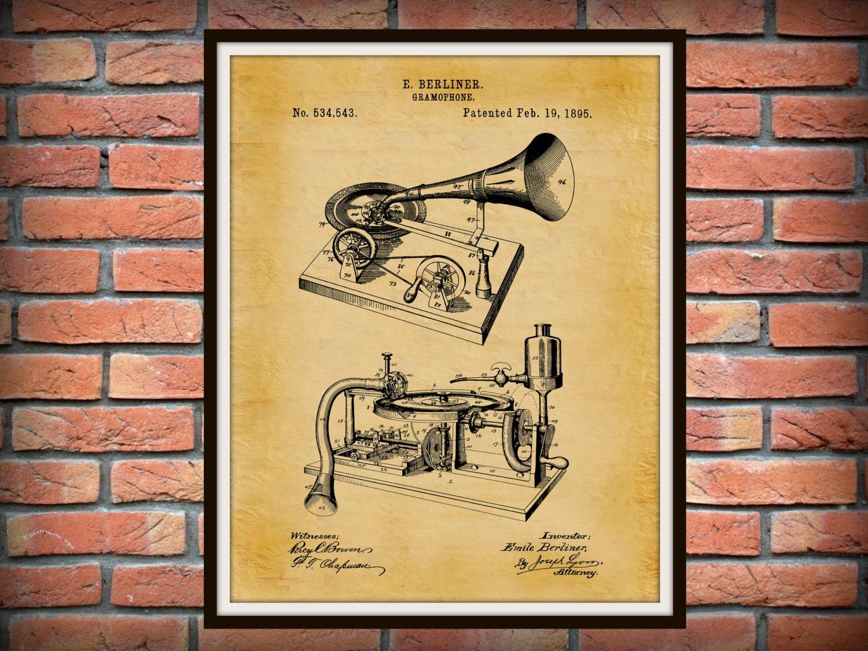 Patent 1895 Gramophone Phonograph - Art Print - Poster Print - Wall ...
