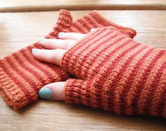 Fingerless Mittens - Cashmere and Merino in Autumnal Tones - Paprika and Spiced Orange