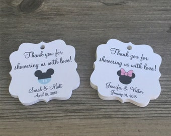 "20 Personalized Mickey or Minnie Baby Shower Tags, 1.75"", Gender Reveal Parties, Baby Shower, Favor Tags, Thank You Tags - Choose Your Color"