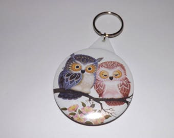 Keychain in the back 58mm badge with mirror, pink and blue OWL couple, lucky