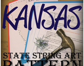 "KANSAS - DIY State String Art Pattern - 10"" x 5.5"" - Hearts & Stars included"