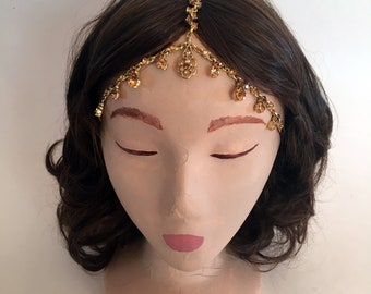 COACHELLA Gold Teardrop Pattern Crystal Gypsy Crown