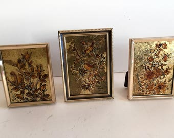 Vintage 3pc Original art by Bessie Heid 1980 Signed/ painting on Gold Leaf Original Miniature art