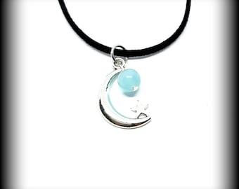 Aura Quartz Crescent Moon Necklace