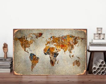 Metal sign, World Map, World Map sign, Map of the world, Metal sign Map, Vintage world map, Rustic metal sign, Rustic world map, Map sign